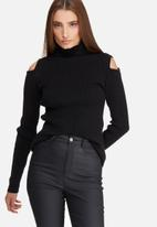 dailyfriday - Cold shoulder funnel neck knit