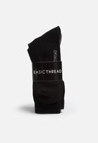 basicthread - 3pk Men's plain socks
