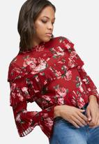 Missguided - Rose print ruffle blouse
