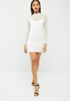 Missguided - High neck long sleeve mesh bodycon dress