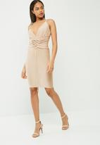 Missguided - Slinky strappy plunge corset midi dress