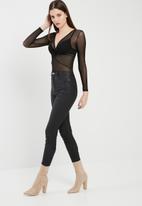 Missguided - Twist front long sleeve mesh bodysuit