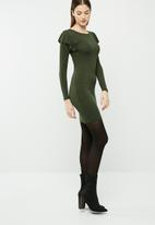 dailyfriday - Long sleeve bodycon dress with frill shoulder