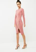 Missguided - Long sleeve zip detail midi dress