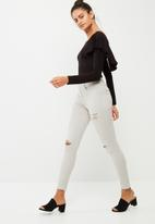 dailyfriday - Back ruffle bodysuit with long sleeves