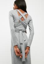 dailyfriday - Turtleneck midi bodycon dress with self fabric tie belt