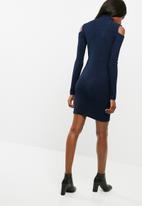 dailyfriday - Cold shoulder poloneck bodycon dress