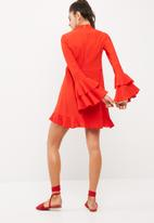 dailyfriday - High neck frill sleeve crepe dress