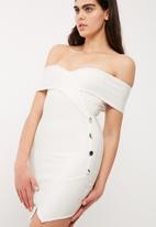 Missguided - Bardot button detail bandage dress
