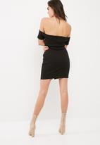 Missguided - Studded popper detail bardot bodycon dress