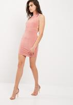 Missguided - Side strap detail high neck bodycon dress