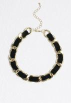 Missguided - Black band gold chain choker necklace