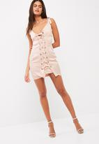 Missguided - Lace up eyelet bodycon dress