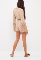 Missguided - Wrap lace sleeve playsuit