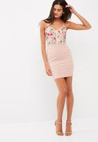 Missguided - Embroidered bodice bodycon midi dress