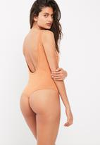 Missguided - Washed laddered side scoop back bodysuit