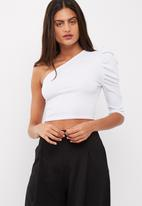 Missguided - Pleated one shoulder ribbed crop top