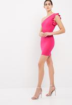 dailyfriday - One shoulder bodycon dress with ruffle