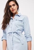 dailyfriday - Poplin shirt dress with self fabric tie belt