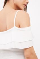 dailyfriday - Tiered off the shoulder bodysuit