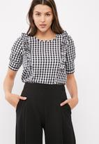 ONLY - Pepita frill gingham blouse