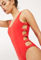 Missguided - Metal details plunge swimsuit