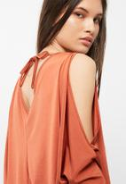 dailyfriday - Ruched front cold shoulder knit top