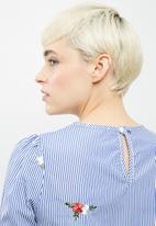 dailyfriday - Poplin stripe embroidered tie sleeve blouse