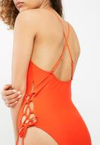 South Beach  - Lace up side cut out swimsuit