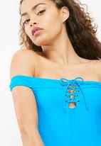 South Beach  - Bardot lace up swimsuit