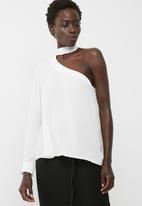 dailyfriday - One shoulder choker blouse