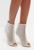 Missguided - Peep toe fishnet bootie
