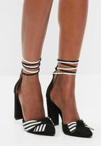 Missguided - Striped wrap around block heel