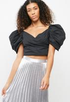 Missguided - Puff sleeve pleated crop top