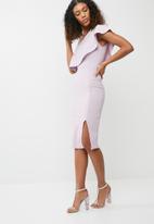 Missguided - One shoulder frill split midi dress