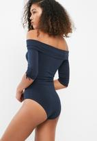 dailyfriday - Off shoulder ruched sleeve bodysuit