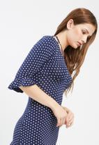 Missguided - Polka dot print frill tea dress