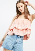 Missguided - Double layered embroidered cami top