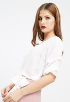 Missguided - Ruched sleeve wrap over blouse