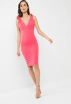 Missguided - Bow shoulder plunge midi dress