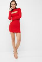 Missguided - Keyhole ribbed knit  mini dress