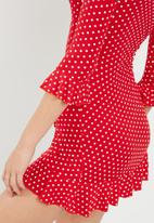 Missguided - Polka dot print frill tea dress