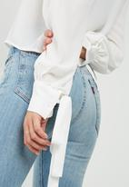 Missguided - Button through tie cuff collared shirt