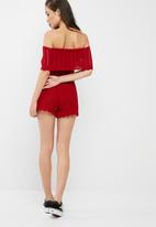 Missguided - Bardot crochet playsuit
