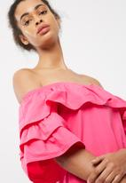 dailyfriday - Tiered ballerina sleeve off the shoulder dress