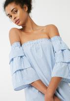 dailyfriday - Tiered sleeve off the shoulder dress