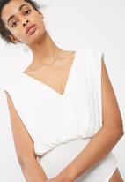 dailyfriday - Plunge neck knit bodysuit