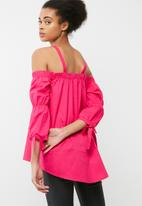 dailyfriday - Cold shoulder poplin blouse