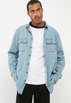 basicthread - Regular fit distressed denim shirt