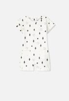 Cotton On - Baby mini short snap romper